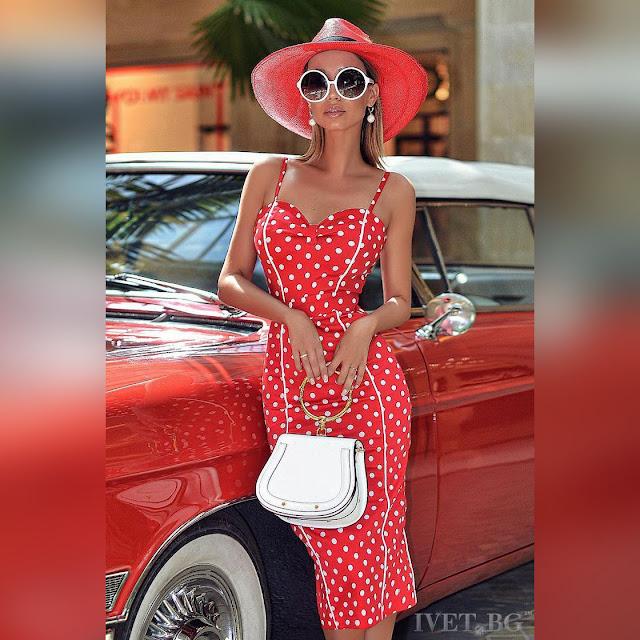 Μεσάτο μίντι κόκκινο φόρεμα ANFISA