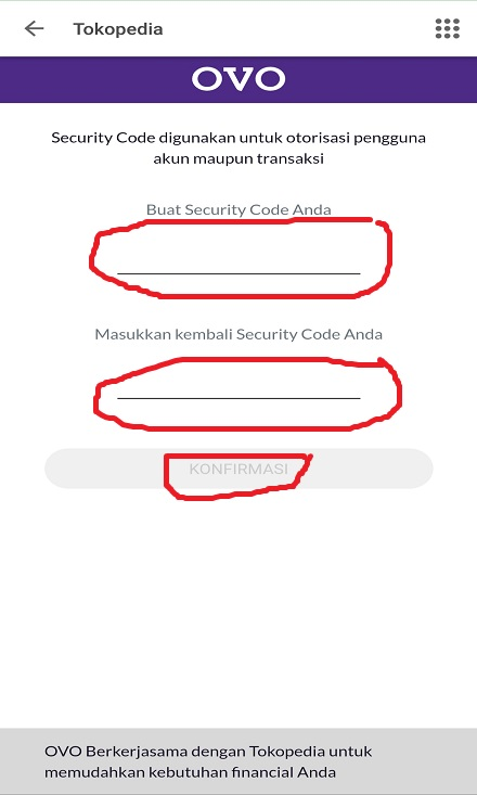 Membuat Password / Security Code Transaksi OVO Cash Tokopedia.