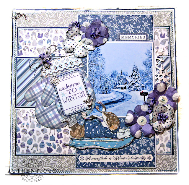 Authentique Frosted Memories Winter Layout by Kathy Clement Photo 01