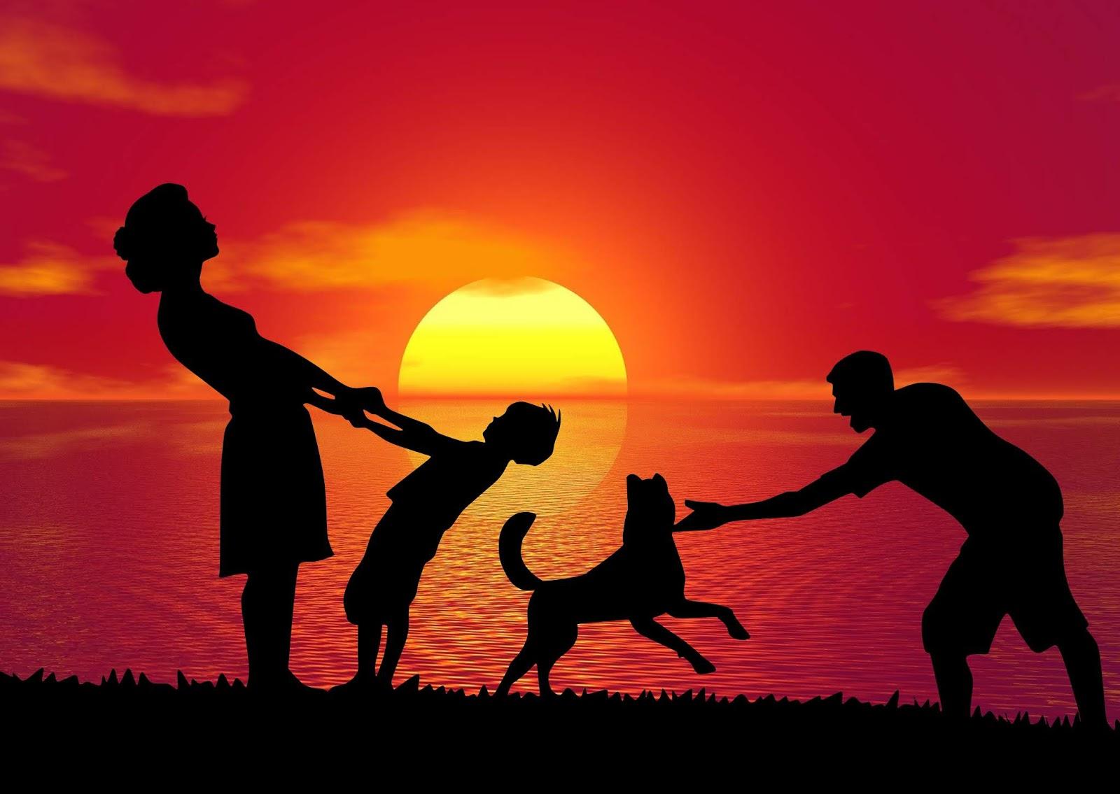 Family having fun outdoor Silhouette design