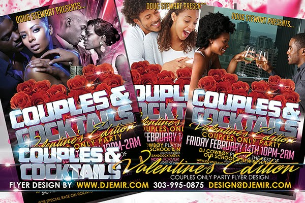 Couples And Cocktails Valentine's Day Edition Flyer Design