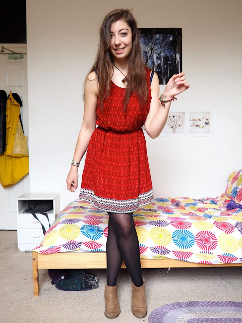 Arthur from The Sword in the Stone Disneybound - outfit of red patterned dress, black tights & brown ankle boots