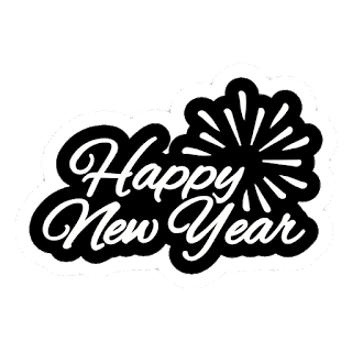 black & white background text of happy new year