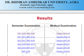 Agra University Result page