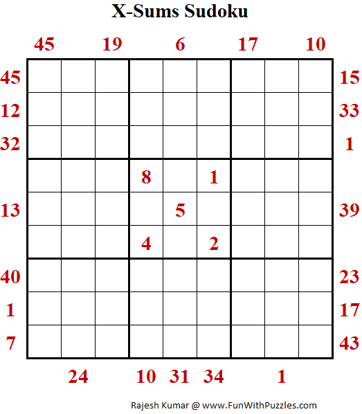 X-Sums Sudoku Puzzle (Fun With Sudoku #374)