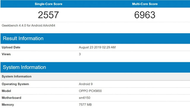 Snapdragon 730G GeekBench Benchmarks