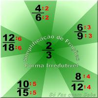 Ilustração mostrando várias simplificações de frações da classe de equivalência cuja forma irredutível é 2/3