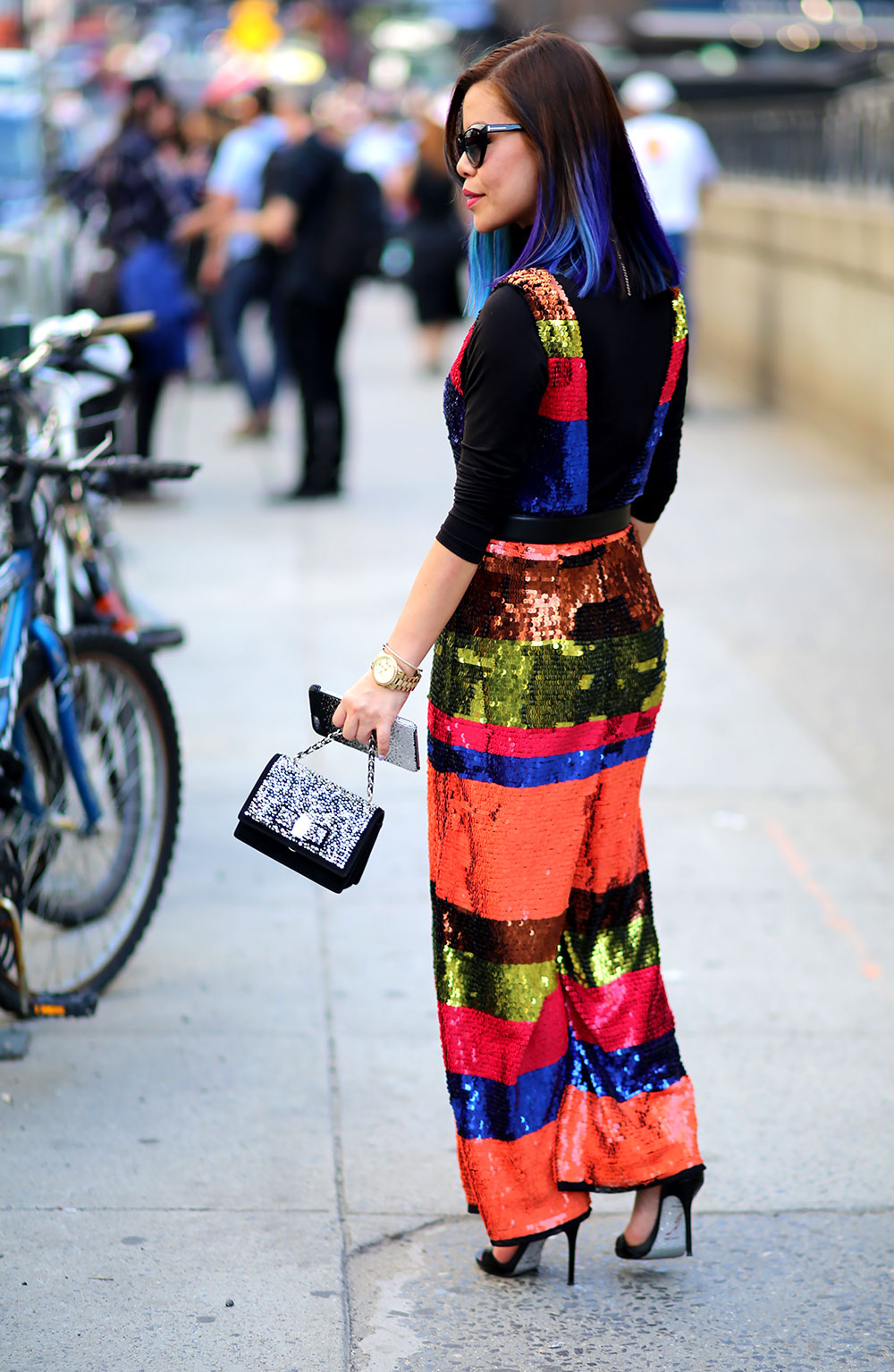 CrystalPhuong- New York Fashion Week 2017 Streetstyle- Rainbow Jumpsuit