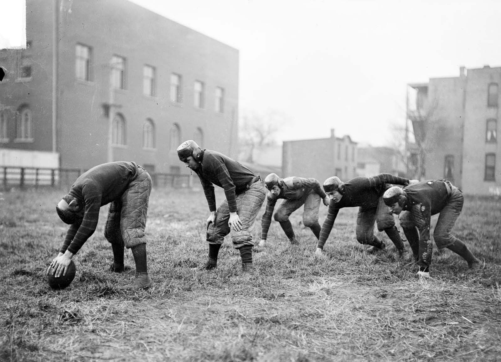 High school football players practice in Chicago. 1902.