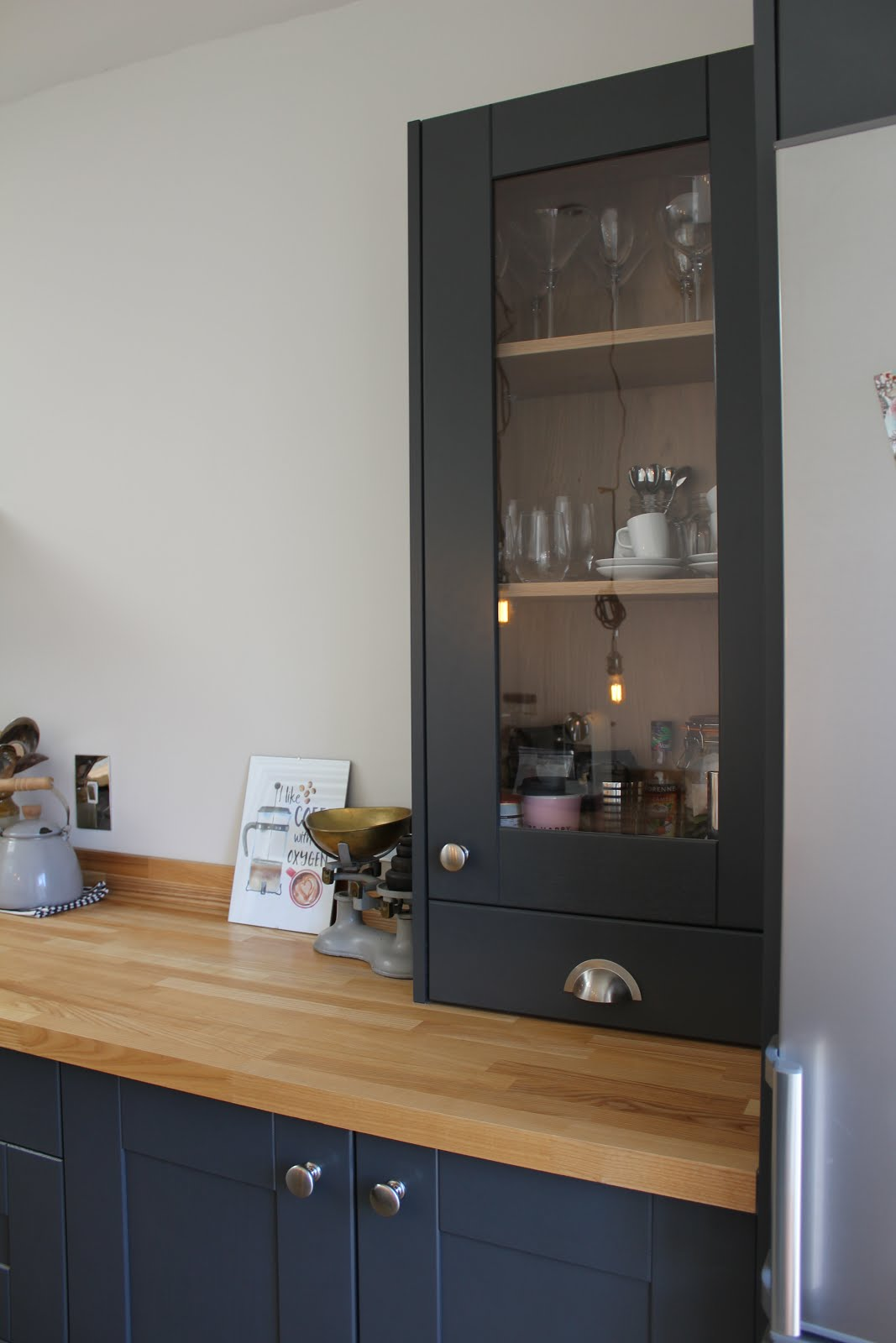 Dark Kitchen with Worktop Dresser