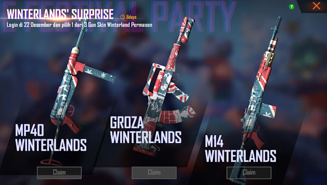 Event Skin Senjata Winterland Gratis Free Fire Desember 2019