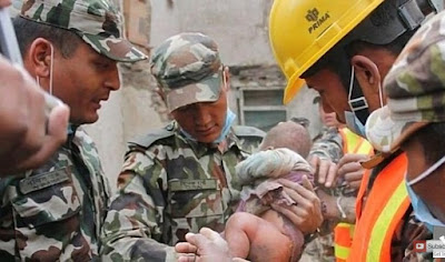 Miracle: 5-month-old baby rescued alive from a rubble of an earthquake in Nepal