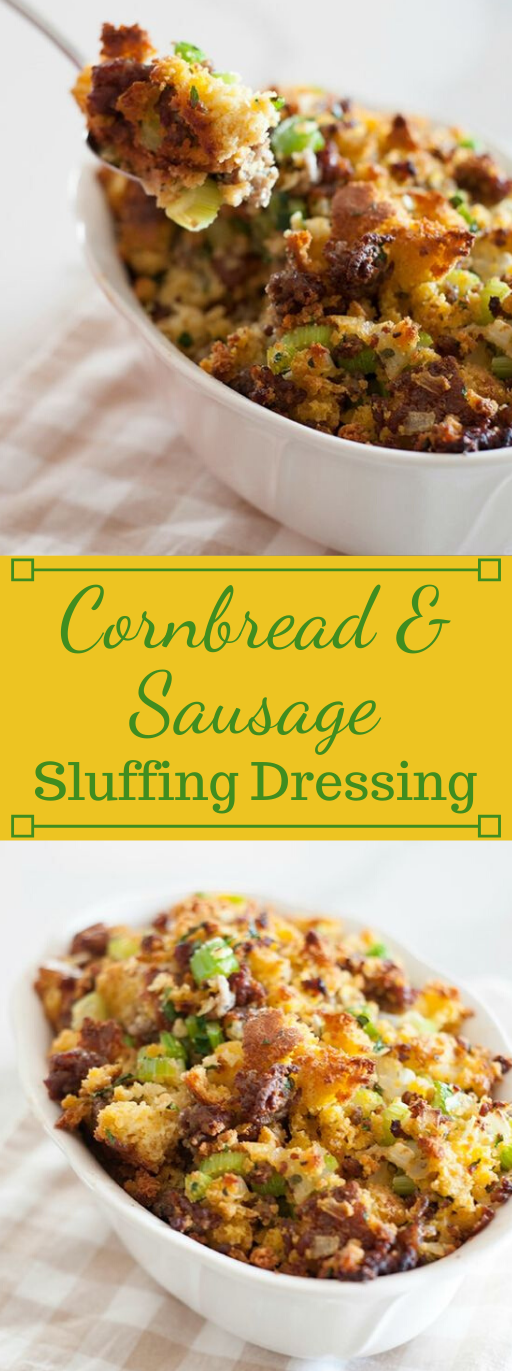 CORNBREAD AND SAUSAGE STUFFING DRESSING #sausage #vegetarian #vegan #corn #breakfast