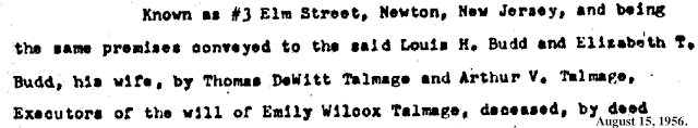 deed snippet for 1956 transfer of Authenticated Sears No 163 of Reuben Talmage