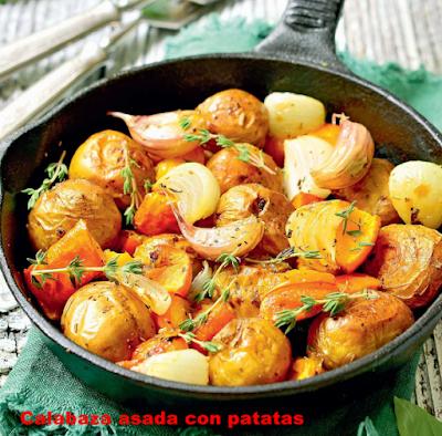 Calabaza asada con patatas