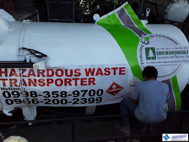 Hazardous Waste Tanker Truck Sticker Installation