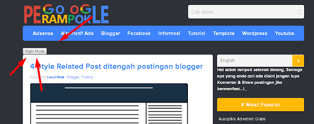 Cara memasang tombol night mode di blogger