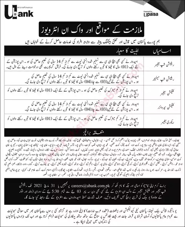 New Jobs in Pakistan U Microfinance Bank Jobs 2021| Walk in Interview