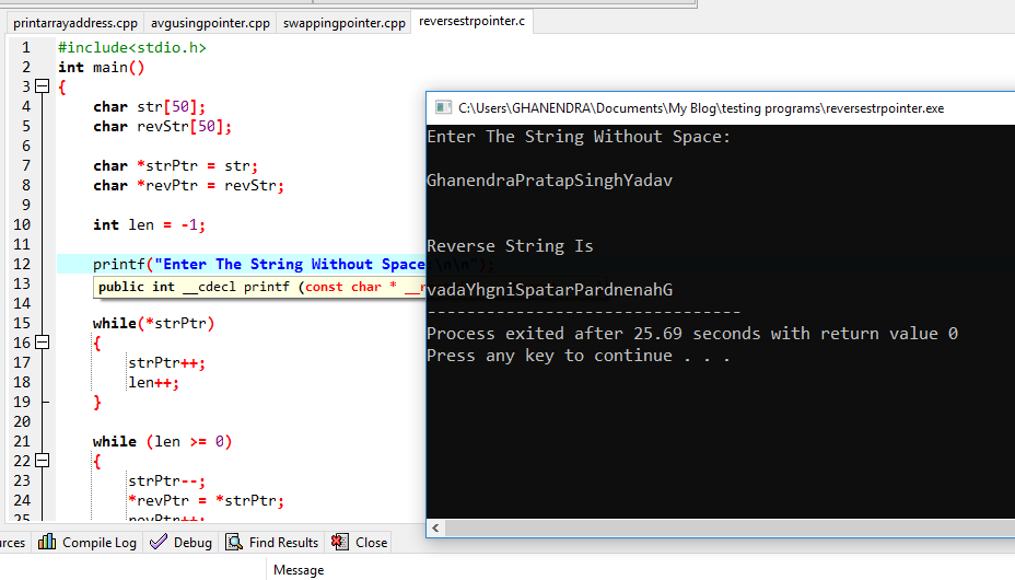 C Program For Reverse a String Using Pointers