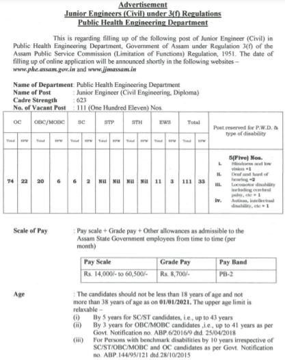 Assam JE Recruitment 2021 Apply Online