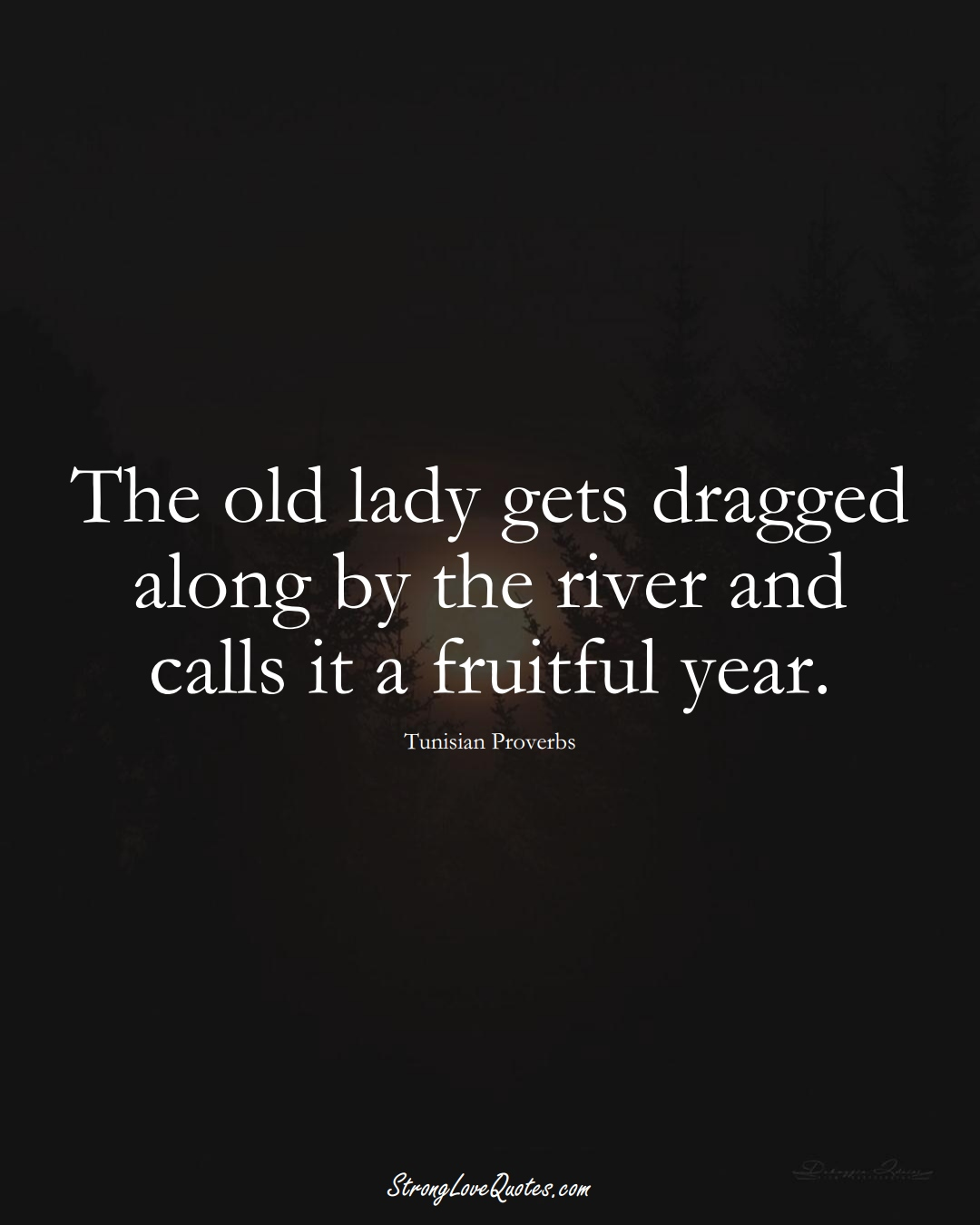 The old lady gets dragged along by the river and calls it a fruitful year. (Tunisian Sayings);  #AfricanSayings