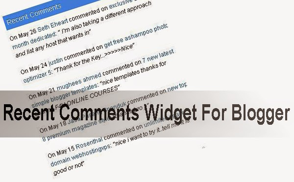 Add Recent Comments Widget In Blogger