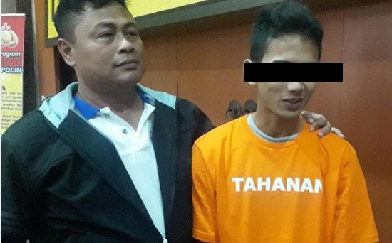 PELAKU : Inilah wajah pelaku perampokan penumpang. Pelaku adalah salah satu pegawai taksi online yang sudah diamankan polisi.  Foto dari DETIK COM
