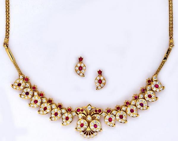 Indian Temple Jewellery Designs(Necklace and Earrings Set
