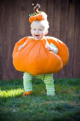 Pumpkin costumes are one of the more popular Halloween ideas, especially for children. These costumes are generally easy to put together and leave plenty of room for imagination and creativity. This pumpkin costume pattern makes for a cute, round pumpkin with a matching stem top.