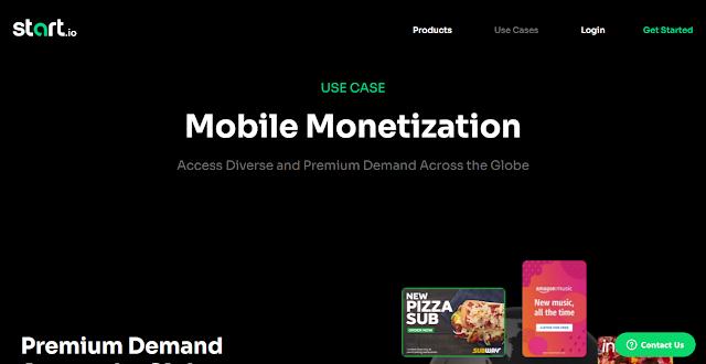 StartApp Website Homepage Screnshot