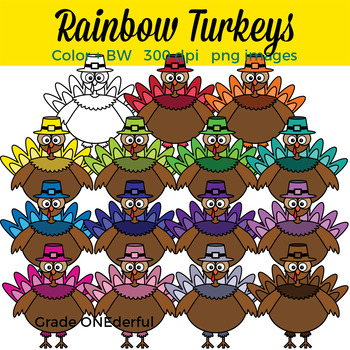 Rainbow Turkeys Clip Art. Colored and BW.