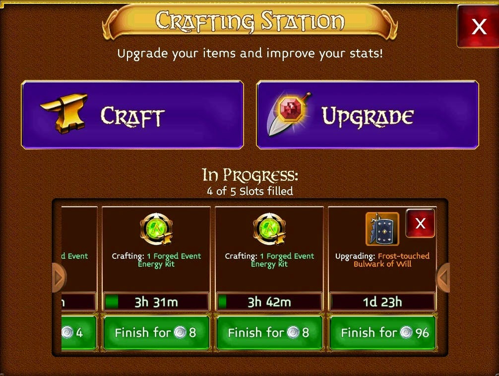 crafting system in arcane legends game