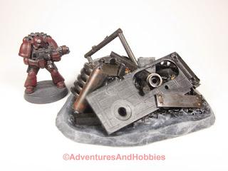 T1592 industrial scrap pile for 25-28mm scale tabletop miniatutre games UniversalTerrain.com - view 4.