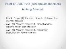 Pasal 17 UUD 1945