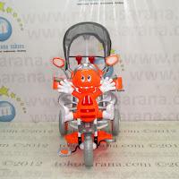 Sepeda Roda Tiga Family F845DT Lebah Sandaran Tangan Seri Bintang dan Rangka Sistem Suspensi Orange