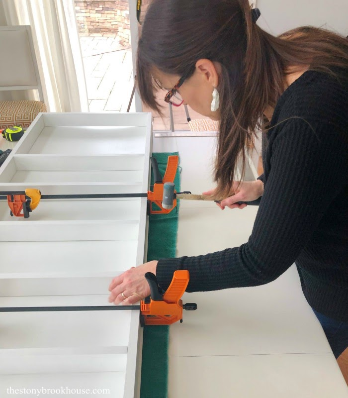 Glue and clamp shelves