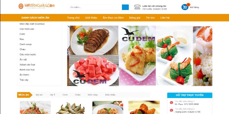 Mẫu website bán đồ ăn