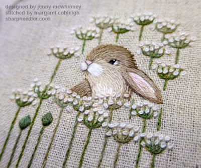Another view of the embroidered hare from Jenny McWhinney's Queen Anne's Lace. All the embroidered flowers are finished.
