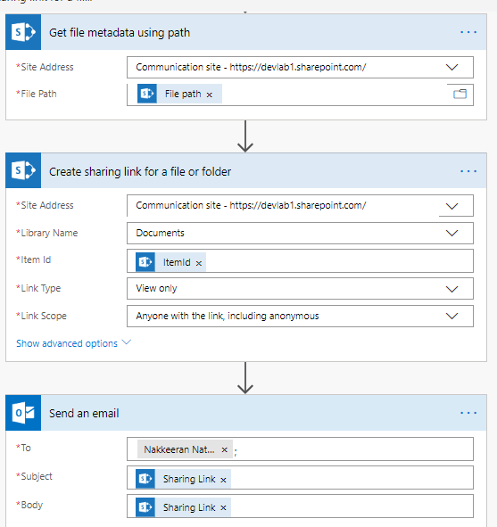 Flow for sharing SharePoint links (scoped) over mail