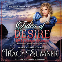 Tides of Desire audiobook cover. A Pretty girl in a blue dress on rocks by the sea.