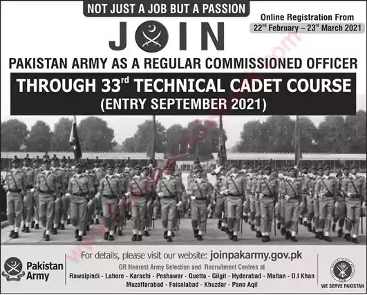 Latest Jobs in Pakistan in Join Pakistan Army through 32th Technical Cadet Course Jobs 2021