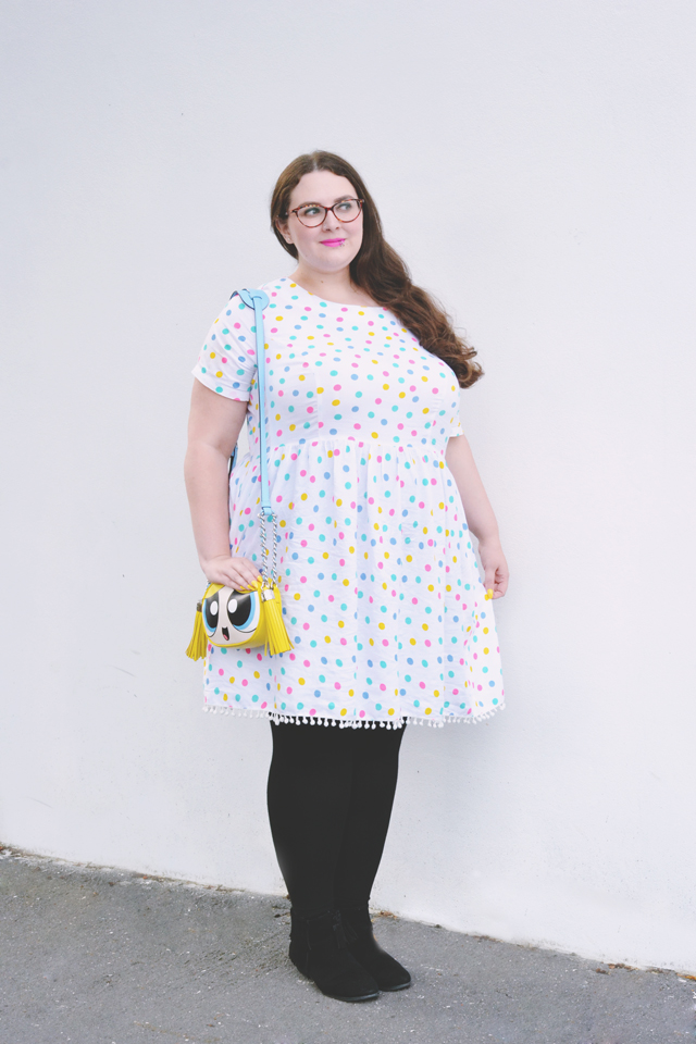 Plus size polkadot dress