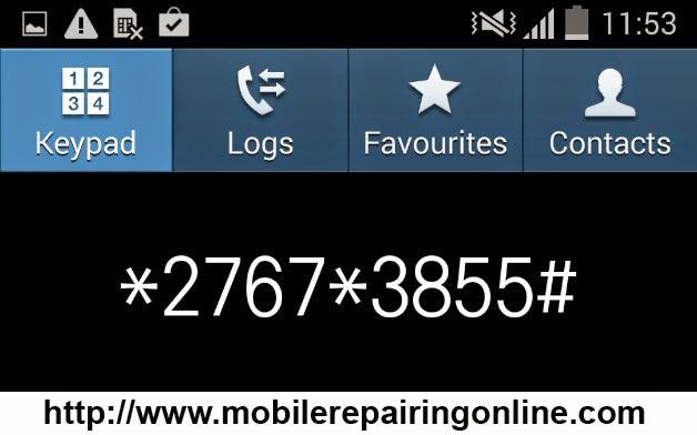 master reset Samsung dial pad method
