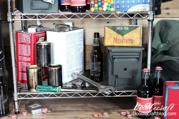 Old soup cans, camp fuel containers, old tools. You probably have a lot of supplies already for this party. It's such a fun party and might even be the perfect Father's day themed party!