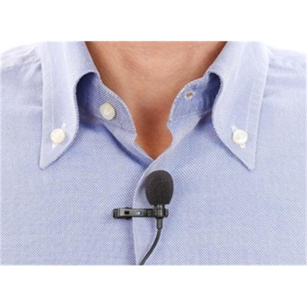 Example of a Lapel Mic attached with Lapel