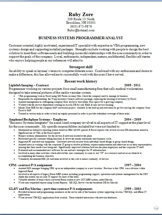 business systems programmer resume format in word free download