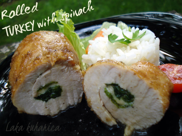 Turkey rolls with spinach and cheese by Laka kuharica: stuffed and rolled turkey steaks are perfect for a family dinner.