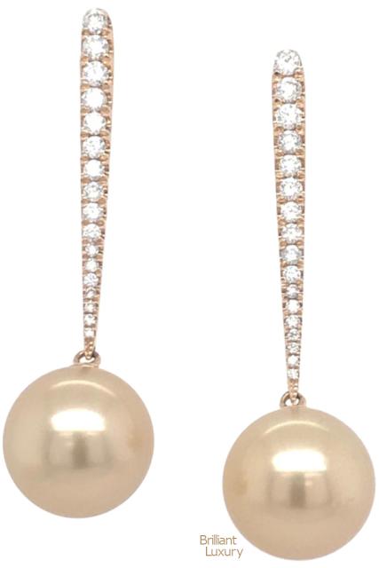 Brilliant Luxury♦Golden South Sea Diamond Drop Earrings 0.43 Carat