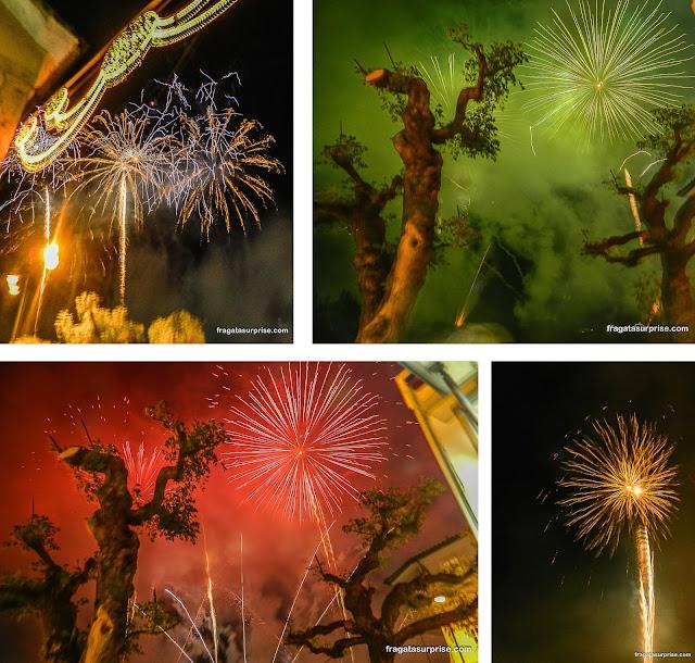 Fogos de artifício na festa de São Gonçalo do Amarante, Portugal