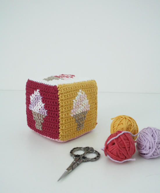 Crochet play cube, Ice creams: crochet pattern | Happy in Red